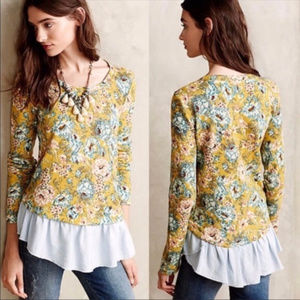 Anthro Lilka Yellow Goldenrod Floral Layered Top M